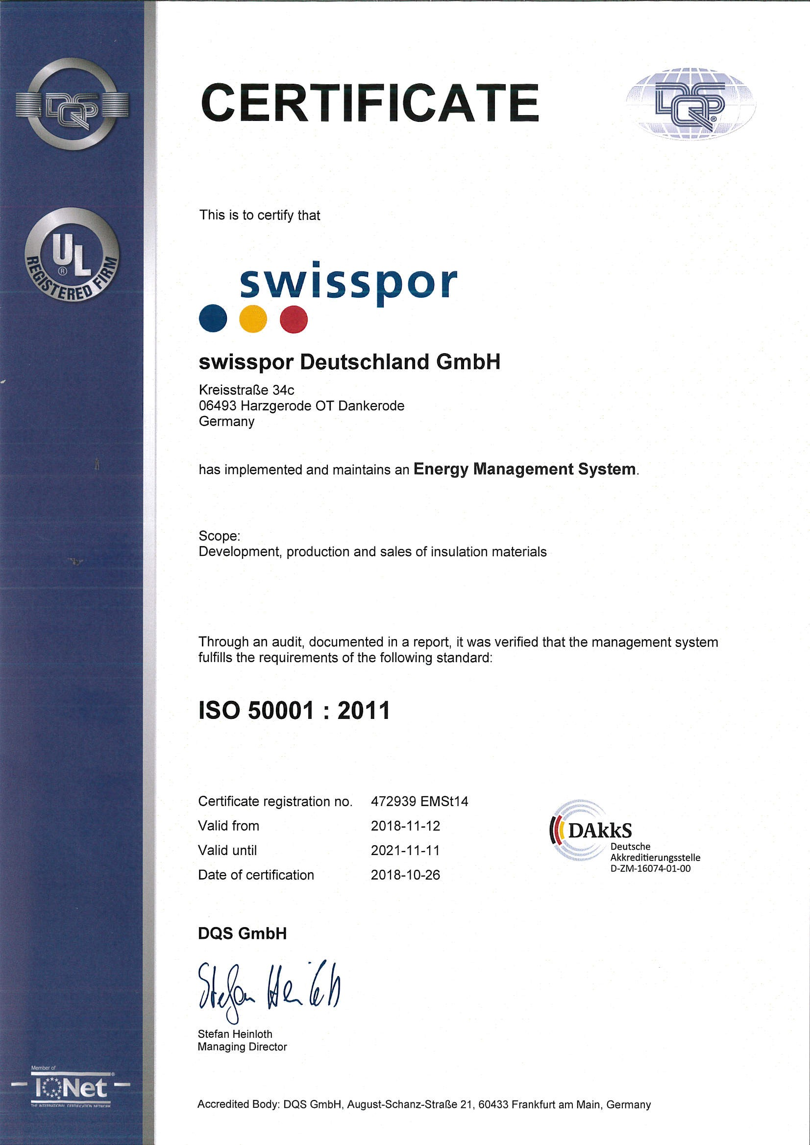 Certificate Energy Management System